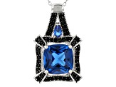 Blue spinel rhodium over sterling silver pendant with chain 7.16ctw
