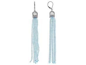 Blue aquamarine sterling silver earrings
