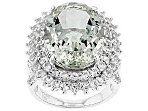 Green prasiolite sterling silver ring 12.90ctw
