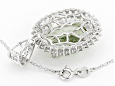 Green prasiolite sterling silver pendant with chain 12.64ctw