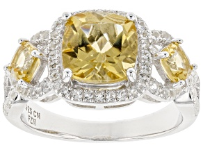 yellow citrine sterling silver ring 2.94ctw