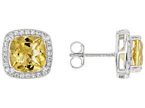 Yellow citrine sterling silver earrings 4.16ctw