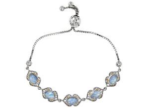 Rainbow Moonstone Sterling Silver Bolo Bracelet 1.20ctw