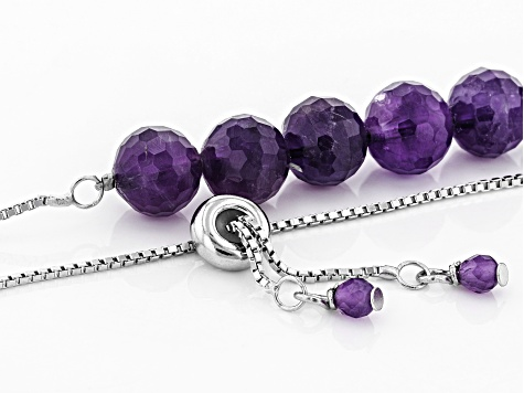 Purple Amethyst Sterling Silver Bolo Necklace 84.60ctw