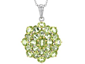 Green peridot silver and 18k gold over silver pendant with chain 6.57ctw