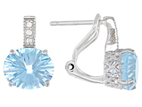 Blue topaz rhodium over sterling silver earrings 6.48ctw
