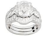 White Cubic Zirconia Sterling Silver Ring With Jacket 7.65ctw