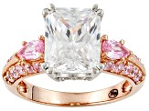 Pink And White Cubic Zirconia Eterno ™ Rose Ring 6.69ctw