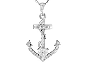 White Cubic Zirconia Sterling Silver Anchor Pendant 4.07ctw