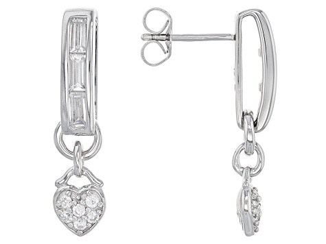 White Cubic Zirconia Rhodium Over Sterling Silver Earrings 1.24ctw