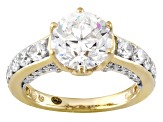 Cubic Zirconia 18k Yellow Gold Over Sterling Silver Ring 6.79ctw
