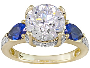 Lab Created Sapphire And Cubic Zirconia 18k Yellow Gold Over Silver Ring 6.54ctw