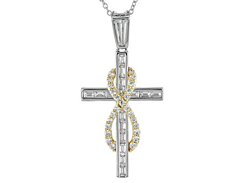 Cubic Zirconia Sterling Silver And 18k Yellow Gold Over Silver Cross Pendant 3.73ctw
