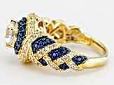 Lab Created Sapphire And Cubic Zirconia 18k Gold Over Silver Ring 2.26ctw