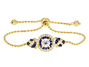 Lab Created Sapphire & White Cubic Zirconia 18k Yellow Gold Over Silver Bracelet 2.97ctw