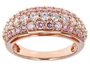 Pink And White Cubic Zirconia 18k Rose Gold Over Silver Ring 2.63ctw