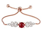 Lab Created Ruby & White Cubic Zirconia Rhodium & 18k Rose Gold Over Sterling Silver Bracelet