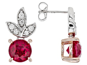 Lab Created Ruby & White Cubic Zirconia Rhodium & 18k Rose Gold Over Silver Earrings 5.08ctw