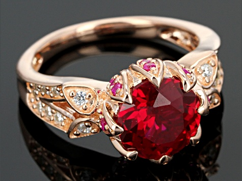 Lab Ruby And White Cubic Zirconia 18k Rose Gold Over Silver Ring 3.74ctw