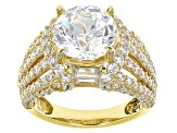 White Cubic Zirconia 18k Yellow Gold Over Silver Ring 9.92ctw