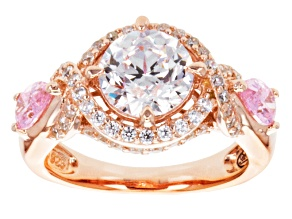 Pink And White Cubic Zirconia 18k Rose Gold Over Silver Ring 5.48ctw