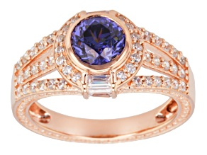 Blue And White Cubic Zirconia 18k Rose Gold Over Silver Ring 2.87 Ctw