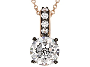 Cubic Zirconia 18k Rose Gold Over Sterling Silver & Black Rhodium Over Silver Pendant 7.09ctw