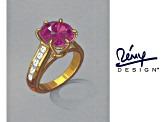 Lab Created Pink Sapphire And Cubic Zirconia 18k Yellow Gold Over Sterling Silver Ring