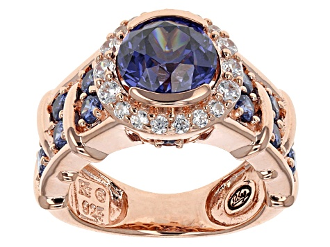 Blue And White Cubic Zirconia 18k Rose Gold Over Sterling Silver Ring 5.42ctw