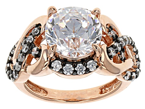Cubic Zirconia 18k Rose Gold Over Sterling Silver And Black Rhodium Over Silver  Ring 5.63ctw