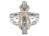 Cubic Zirconia Sterling Silver With 18k Yellow Gold Over Sterling Silver Accent Ring 2.00ctw