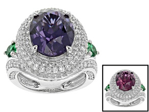 Alexandrite Color, Green And White Cubic Zirconia Sterling Silver Ring 8.63ctw
