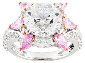 Pink And White Cubic Zirconia Sterling Silver Ring 9.94ctw