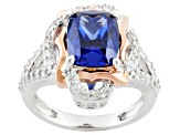 Blue And White Cubic Zirconia Sterling Silver & 18k Rose Gold Over Silver Ring 6.05ctw