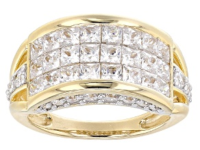 Cubic Zirconia 18k Yellow Gold Over Sterling Silver Ring 6.30ctw
