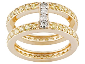 Yellow And White Cubic Zirconia 18k Yellow Gold Over Silver Frosted Link Ring 3.96ctw