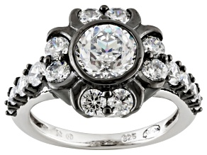 Cubic Zirconia Black And White Rhodium Over Silver Fleur Noir Ring 4.64ctw