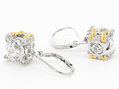 White Cubic Zirconia Rhodium Over Silver & 18k Yellow Gold Over Silver Earrings 7.79ctw