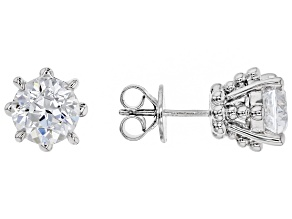 white cubic zirconia rhodium over sterling silver earrings
