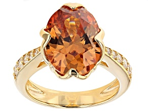 Brown And White Cubic Zirconia 18k Yellow Gold Over Sterling Silve Rring 10.30ctw