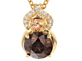 Brown/Champagne/White Cubic Zirconia 18k Yellow Gold Over Silver Pendant With Chain 4.04ctw