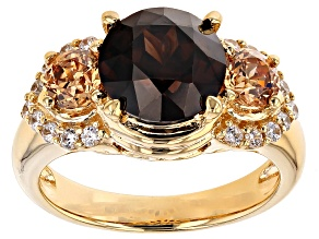 Brown,White, And Champagne Cubic Zirconia 18k Yellow Gold Over Silver Ring 6.32ctw