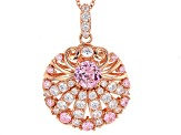 Pink And White Cubic Zirconia 18k Rose Gold Over Sterling Silver Pendant With Chain 8.71ctw