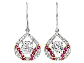 Created Ruby And White Cubic Zirconia Rhodium Over Silver Earrings 5.09ctw
