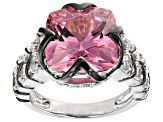 Pink And White Cubic Zirconia Rhodium Over Sterling Silver Ring 12.83ctw