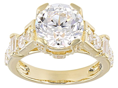 White Cubic Zirconia 18k Yellow Gold Over Sterling Silver Ring 8.81ctw
