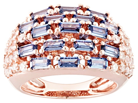 Blue And White Cubic Zirconia 18k Rose Gold Over Sterling Silver Ring 4.32ctw
