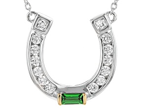 Green And White Cubic Zirconia Rhodium Over Sterling Silver Necklace 1.49ctw