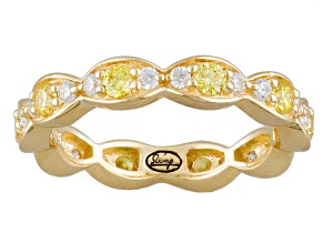 Yellow And White Cubic Zirconia 18k Yg Over Silver Ring 1.26ctw