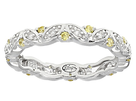 Yellow And White Cubic Zirconia Silver Ring .57ctw (.40ctw DEW)